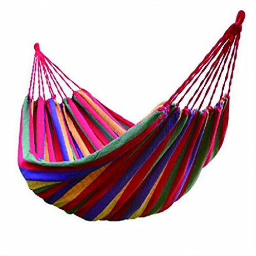 Outdoor Leisure Double 2 Person Cotton Hammocks Ultralight Camping Hammock Colorful Stripe with Tree Hanging Straps