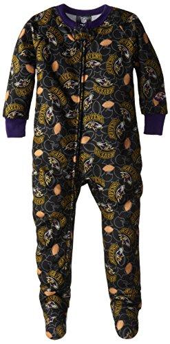 Nfl Baltimore Ravens Boy'S Blanket Sleepers, 3T, Blue front-25966