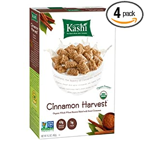 Kashi Organic Cereal, Cinnamon Harvest, 16.3-Ounce Boxes (Pack of 4)