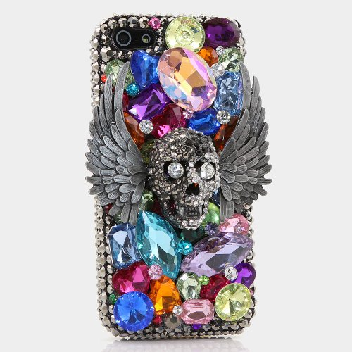 Great Price BlingAngels® 3D Luxury Bling iphone 5 5s Case Cover Faceplate Swarovski Crystals Diamond Sparkle bedazzled jeweled Design Front & Back Snap-on Hard Case + FREE Premium Quality Stylus and Water-Resistant Bag (100% Handcrafted by BlingAngels) (Flying Skull Design)