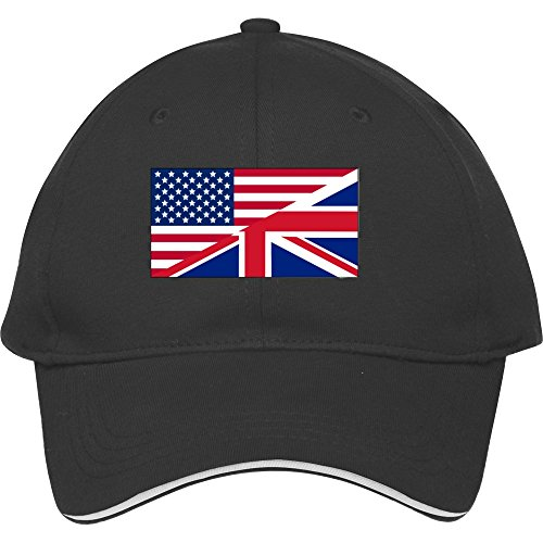 Male/female Fashion Adjustable Black Baseball Cap Snapback Hat With American And Union Jack F Cotton (British Army Clothes compare prices)