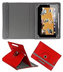 Acm Rotating 360° Leather Flip Case For Hcl Me Champ Tablet Cover Stand Red