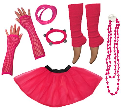 A-Express® Neon Tutu Skirt , Leg Warmers, Gummies, Beads - 10 Colours - Sizes from 8 to 24