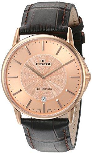 EDOX - 56001 37R ROIR - Montre Mixte - Quartz Analogique - Bracelet Cuir Marron