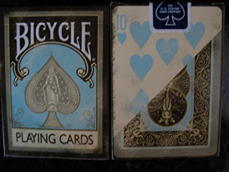 Top Deck Cards:  Bicycle Dirty Faded Vintage Teal Brown Playing Cards