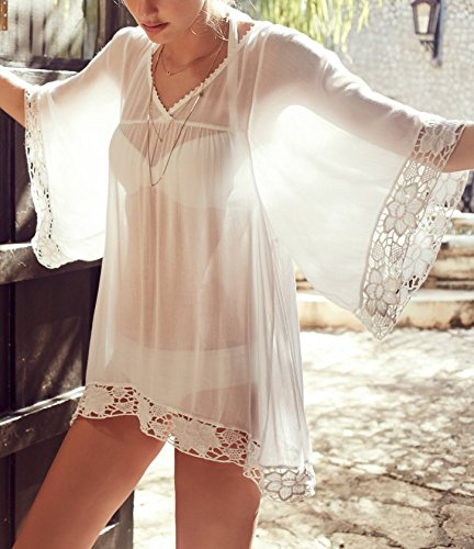 62c7b25e3 MG Collection Sheer Chiffon Lace Trim Flowy Sleeves Beachwear Swimsuit  Cover Up