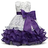 NNJXD Girl Ruffles Vintage Embroidered Sequins Flower Wedding Dress Size (140) 6-7 Years Purple