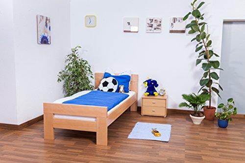 "Lit pour enfants / ados ""Easy Sleep"" K2, hêtre naturel massif - Dimensions: 90 x 190 cm"