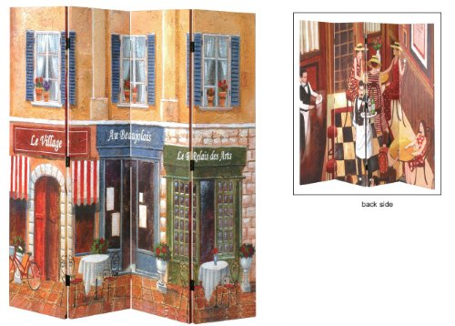 FRENCH CAFE 4 Pane Wooden Framed and Double-Sided Decorated Photo Fabric Room Divider / Splitter Screen