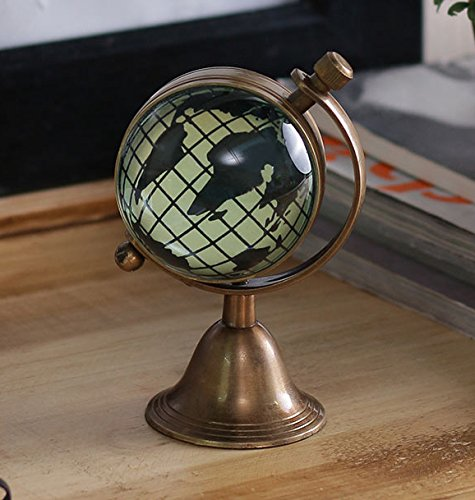 Antique Retro Vintage-Inspired Brass Metal Craft World Globe Table Clock Home Decor - 1.8 Inch 1