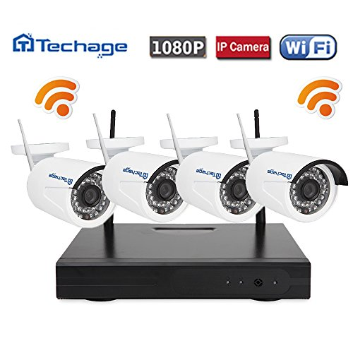 Techage Wifi Security System/ Wireless CCTV System Outdoor/ Indoor, 4CH 1080P 2.0MP Waterproof IP Camera, 65ft Night Vision, Plug & Play, 36 Led Lights Home Security Surveillance Kits Without HDD (Wi Fi Dvr Security System compare prices)