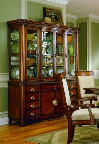 Cheap Elegant Cherry Finish Hardwood China Cabinet / Buffet Hutch (VF_HE869-50)