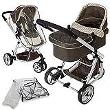 TecTake 3 en 1 Sillas de paseo coches carritos para bebes convertible marr�n con Protecci�n contra mosquitos y lluvia