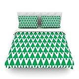 "Kess InHouse Gabriela Fuente ""Happy X-Mas Green"" Illustration Geometric Cotton Duvet Cover, 88 by 104-Inch"