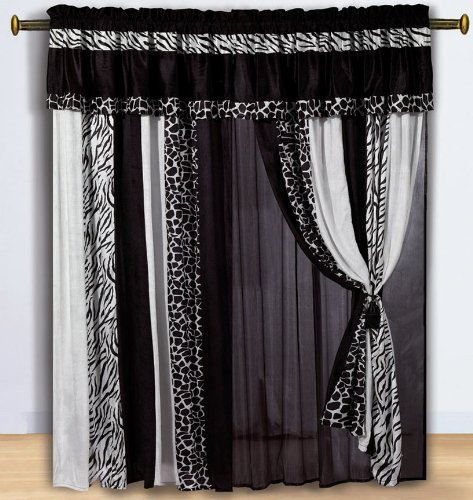 Chezmoi Collection Black and White Micro Fur Zebra with Giraffe Design Window Curtain/Drape Set, with Sheer Backing