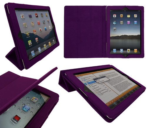 iTALKonline PADWEAR ADVANCED Executive PURPLE Wallet Case Cover Stand With TRI-FOLD SMART TILT and Magnetic Sleep Wake Sensor Feature For Apple iPad 2 2nd generation (Wi-Fi and Wi-Fi + 3G) 16GB 32GB 64GB