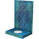 Indian Artisans Online Wooden Tealight Candle Holder (15 Cm X 10 Cm, Blue, IAHTH100)