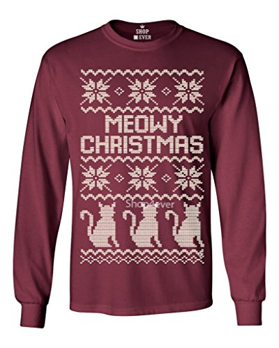 Shop4Ever® Meowy Christmas Cat Long Sleeve Shirt Christmas Shirts Medium Maroon 13436