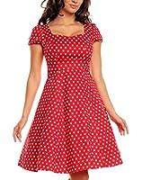 Vintage Polka Dot Dresses Cap Sleeves 50s 60s Rockabilly Swing Short Cocktail Dress Spotted Ladies Womens