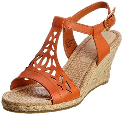 Rockport Women's Emily Laser Cut T-Strap Sandal, Dark Orange, 9 M US