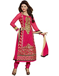 IndiWeaves Women's Georgette Semi Stitched Salwar Suit (10006D-IW-2-OBS, Pink, Free Size)