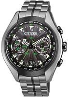 Citizen Watch Satellite Wave Air Men's Quartz Watch with Black Dial Analogue Display and Grey Titanium Bracelet CC1055-53E