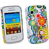 Kit Me Out DE - Samsung Galaxy Pocket S5300 Android Hart Solide Hülle / Deckel / Schutzhülle / Fall de Protection Solide Clip On Kreise Mit Blumen