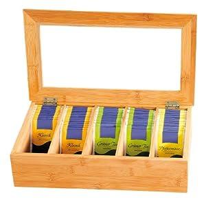 Kesper 5090013 Tee-Box aus Bambus, mit 5 Fächern, 36 x 20 x 9 cm