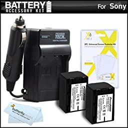 2 Pack Battery And Charger Kit For Sony HDR-PJ230, HDR-PJ230/B HD Camcorder Includes 2 Extended Replacement (2300Mah) NP-FV70 Batteries + Ac/Dc Travel Charger + MicroFiber Cloth + More