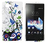 Kit Me Out UK TPU Gel Case + Screen Protector with MicroFibre Cleaning Cloth for Sony Xperia J - Multicoloured Country Garden