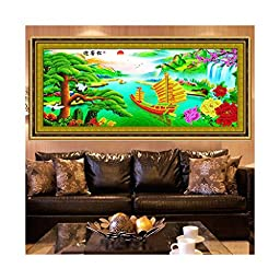 Printing 5D Round Diamond Living Room Diamond Paste Cross Stitch The Pine Greeting Guests Wealthy and Happy