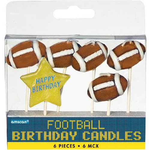 Football Birthday Candles 6ct - 1