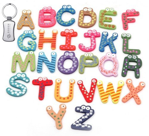26pcs Funny Colorful Kids Wooden Alphabet Fridge Magnet, Child Educational Toy + A keychain
