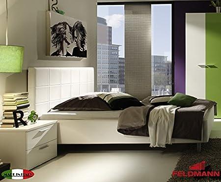 Polsterbett Bett mit Kopfteil 55013 weiß Kunstleder 180x200cm