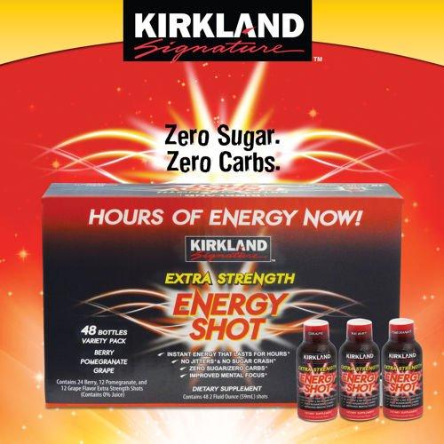 Kirkland Extra Energy Shot Berry, Pomeganate & Grape (Pack Of 48)