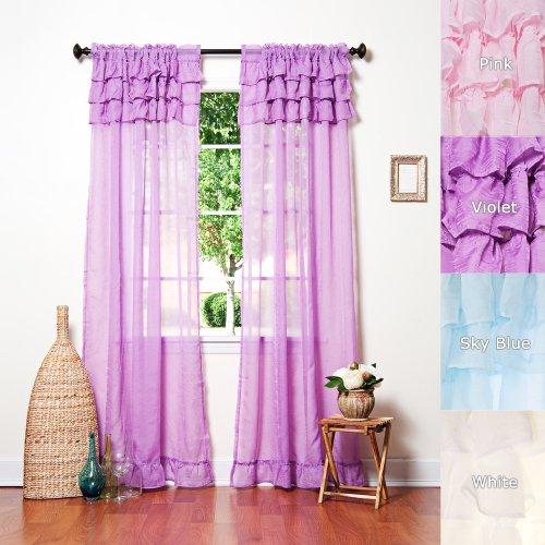 "Beautiful Chiffon Sheer Cancan Curtain 84""L Set - Violet - Kids - Sl front-1032016"