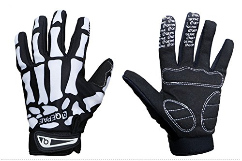 Best Specialized Adults Winter Windproof Fleece Skeleton Outdoor Sport Cycling BMX Bicycle MTB Racing Riding Skiing Motorcycle Full Finger Gloves Warm Hand Gloves For Women Men (White-skull, M)