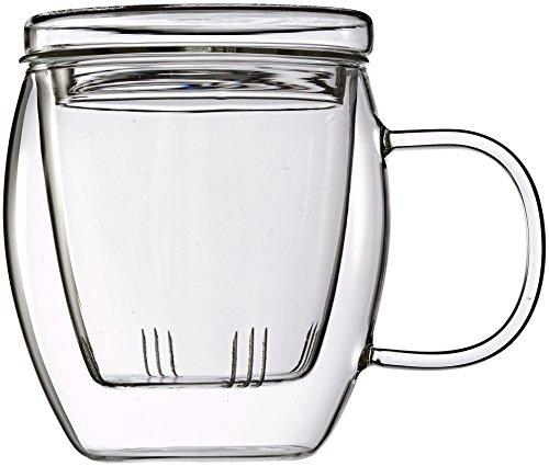 Feelino one and go 400 ml/grande tasse à thé avec filtre et couvercle, dans un joli coffret cadeau en carton für's bureau et en voyage