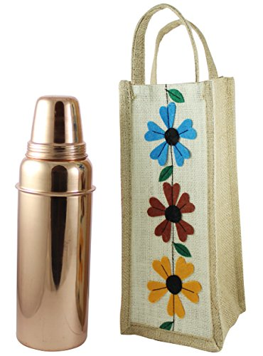 Indian Pure Copper Water Bottle with Lid for Ayurvedic Health Benefits