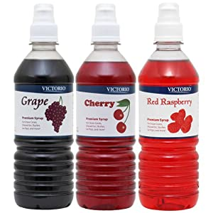 Victorio 3-Flavor Pack Shaved Ice/Snow Cone Syrups, Grape, Cherry, Red Raspberry