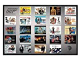 Film Gloss Black Framed Poster featuring A Collection of Iconic James Bond Movie Posters 91.5x61cm