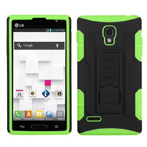 Fits Lg P769 Optimus L9 Hard Plastic Snap On Cover Black/Electric Green Car Armor Stand (Rubberized) T-Mobile