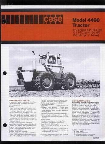 Case International Model 4490 Tractor Sales Brochure By Case International