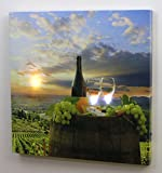 Wine Canvas Print with LED Lights Home Decor - Pictured with Wine Glasses Wine Bottle Grapes Barrel Sunset - 12x12 Inch