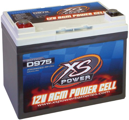 "XS Power D975 AGM Audio Series 2100 Max Amp 525 Cranking Amp 12V Battery with 7.9"" M6 Terminal Bolt"