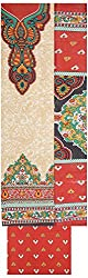 Shrumani Global Women's Cotton Unstitched Dress Material (SG014, Beige & Red)
