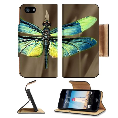 Insect Dragonfly Outdoor Nature Wings Closeup Apple Iphone 5 / 5S Flip Cover Case With Card Holder Customized Made To Order Support Ready Premium Deluxe Pu Leather 5 3/16 Inch (132Mm) X 2 11/16 Inch (68Mm) X 9/16 Inch (14Mm) Liil Iphone 5 Professional Cas