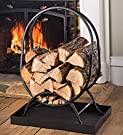 Small Tubular Steel Oval Wood Rack with Tray, in Black