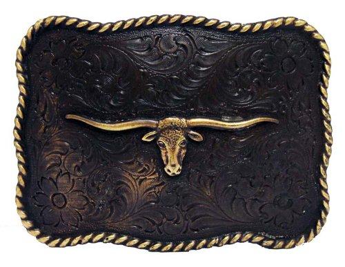 Antique Copper Texas Longhorn Steer Engraved Western Belt Buckle