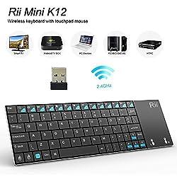 Rii K12 Ultra Slim 2.4GHz Portable Mini Wireless Kodi Keyboard with Large Size Touchpad Mouse